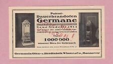 HANNOVER, Werbung 1914, Germania Ofen-Herd-Fabrik Winter & Co. Dauerbrandofen Ge
