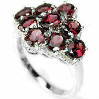 Ring Pink Rhodolite Garnet Genuine Natural Gems Sterling Silver Size N 1/2 US 7