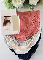 Auden Women's Briefs Panties 100% Cotton Tagfree Large (12-14) 6 Pack Multicolor