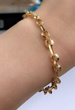 18k Solid Yellow Gold O Link Italy Bracelet, 7 Inches, 5.43 grams