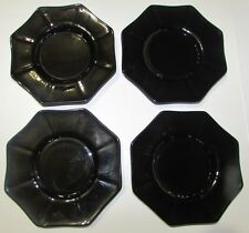 "4 Black Octagonal 6 1/4"" Small Plates 8-sided Glass"