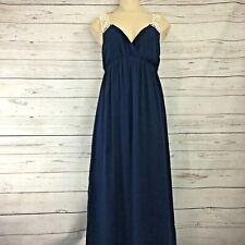 Forever 21 Womens Crochet Trim V Neck Maxi Dress Blue Size Medium Boho Grecian