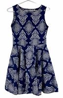 Caroline Morgan Womens Blue/White Sleeveless Fit Flare Dress with Pockets Size 8