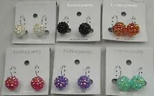 Wholesale lots 6 pair disco ball plastic ab small french clip fashion earring