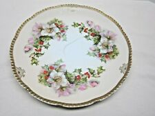 """Prussia 8 1/2"""" Tea Rose Holly Berries & Flowers Gold Trim"""