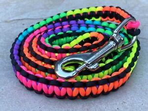 Neon Rainbow Paracord Dog Leash Cobra Heavy Duty 5 FT *Benefits Dog Rescue*