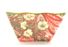 222 Fifth Holiday Decopage Fine China Porcelain Square Bowl Red White Candy dish