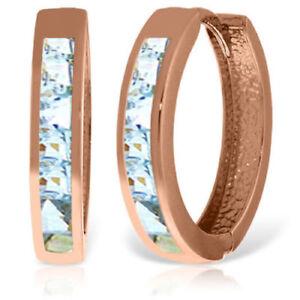Genuine Princess Cut Aquamarine Huggie Hoops Earrings 14K Rose Gold