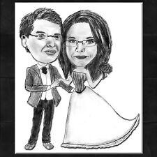 Karikatur vom Foto ~ Portrait nach Foto / Hochzeitspaar Motiv *GESCHENK* DIN A3