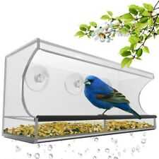 Window Glass Bird Feeder Clear Perspex Seed Peanut Suction Cup Plastic Garden Us