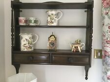 Ercol Elm Wall Shelf Unit/Plate Rack with 2 Drawers (1970s)