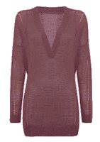 Label Lab Ladder Knit Slouch V Neck Jumper OTH Pullover Burgundy Size S *REF97