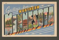 [70317] OLD LARGE LETTER POSTCARD GREETINGS FROM NORTHERN MINNESOTA