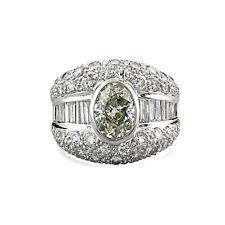 Brillant-Diamant-Ring zus. 5,61 ct davon 1 Zweikaräter-Solitär 900-Platin, 39492