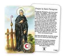 ST PEREGRINE LAMINATED PRAYER CARD WITH RELIC - STATUES CANDLES PICTURES LISTED