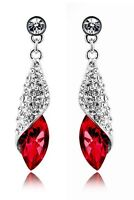 Crystal Jewellery Diamond Shine Rhinestone Deep Red Drop Earrings E507