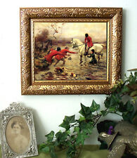 Sidesaddle Lady IN THE DRINK Horse Art Print Antique Styl Framed 11X13