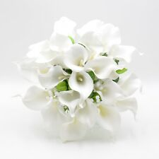 Artificial Wedding Flowers Brides Posy Bouquet in White Real Touch Calla Lily