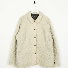 Vintage Women's BARBOUR Quilted Snap Button Jacket Coat Beige | UK 16