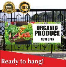 ORGANIC PRODUCE NOW OPEN Banner Vinyl / Mesh Banner Sign Vegetable Carnival Food