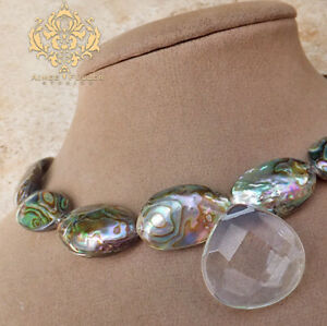Abalone Paua Necklace Natural Sea Opals Bridal Jewelry Crystal Faceted Pendant