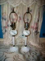 MILK GLASS BOUDOIR LAMPS HP FLORAL ANTIQUE 1930's PAIR GLASS ORNATE BASE COTTAGE