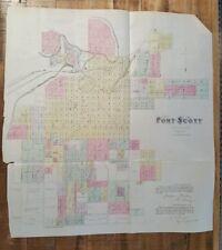 Antique Colored MAP - FORT SCOTT - BOURBON COUNTY - 1887 KANSAS ATLAS