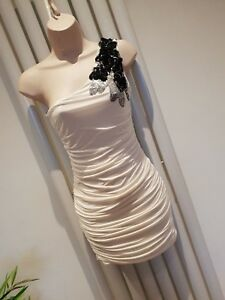 Jane Norman White Ruched One Shoulder Size 10