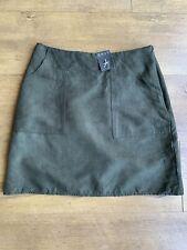 Primark Size 6 / 8 Dark Khaki Green Skirt Faux Suede Mini Short A Line Pockets