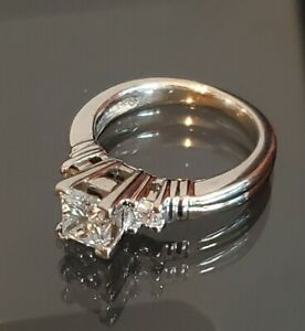 Platinum /Palladium Princess cut Diamond Ring sz 5