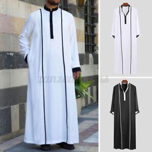 Men's Long Sleeve Islamic Arab Saudi Dishdash Kaftan Full Length Long Thobe Top