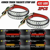 "2X 40"" full functions of Truck Tailgate LED Light Bar Brake Reverse Signal Strip"