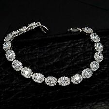 7.5 In White Gold GP Oval Cut Clear Cubic Zirconia CZ Tennis Bracelet 08280