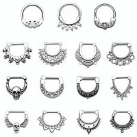 1pc 316L Stainless Steel SEPTUM CLICKER HELIX RING Nose Ear Ring Body Piercing