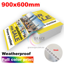5mm Custom Corflute Signs 600x900mm (900X600mm) with full color print