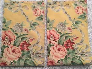 RALPH LAUREN Evelyn Standard Pillowcase Set (2) Yellow/Floral VGUC