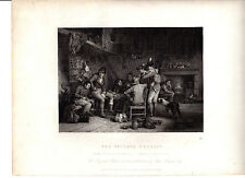 """David Wilkie pintura, grabado por greatbach - """"La aldea reclutar"""" (c1860)"""