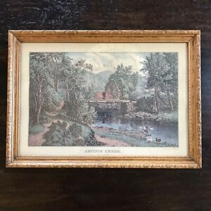 Currier and Ives Artists Creek North Conway NH Lithograph Reprint Framed