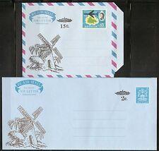 Antigua 1977-78 Windmill Illustrated, Overprinted  Aerogrammes. Postally Unused