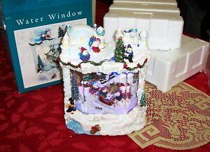 CHRISTMAS WATER WINDOW POLAR BEARS LIGHTED MUSICAL DISPLAY