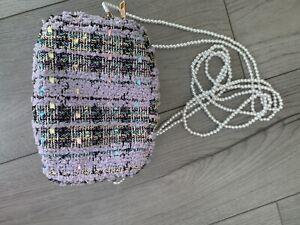 Women's Small Cross Body Messenger Over Shoulder Bag Handbag Bag Pearl straps
