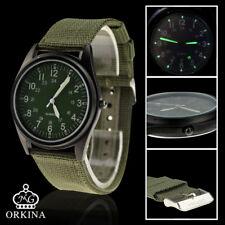 Orkina Mens Fashion Army Green Quartz Movement Nylon Band Military Wrist Watch