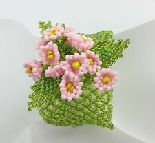 Seed Bead Stretch Bracelet Fish Net Basket Weave Netted Bangle Flowers 9212