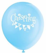 """8 x Latex Balloons 12"""" Blue Bunting Christening Boys Religious Party Decoration"""