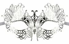 Silver Laser Cut Metal Costume Masquerade Mask with Clear Rhinestones