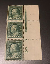 US Stamps 331 A Rare Plate No. & Sign Notes Strip 3 MNHDG