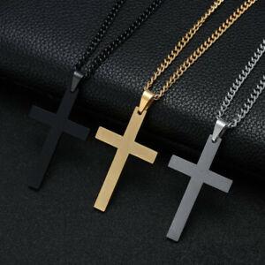 Croix Pendentif Collier Acier Inoxydable Argent Or Crucifix Hommes Femmes