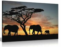 Elephants In The Sunset Africa Landscape Canvas Wall Art Picture Print