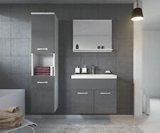 Badezimmer Badmöbel Montreal 60 cm Waschbecken Hochglanz Grau Fronten