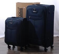 """Traveler's Choice 2-pc Clayton Nylon Luggage Spinner Suitcase Set 23"""" 32"""" Navy"""
